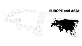 Carte pointillée par découpe de vecteur de l'Europe et de l'Asie avec la légende illustration libre de droits