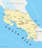 Carte politique de Costa Rica illustration stock