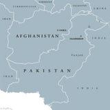 Carte politique de l'Afghanistan et du Pakistan Photographie stock