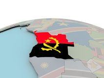 Carte politique de l'Angola sur le globe avec le drapeau Images libres de droits