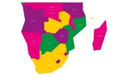 Carte politique de région de l'Afrique australe Carte schématique de vecteur de Simlified dans le modèle de couleurs quatre Photographie stock libre de droits