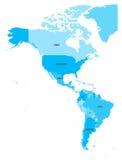 Carte politique des Amériques à quatre nuances de bleu sur le fond blanc Nord et l'Amérique du Sud avec des labels de pays illustration libre de droits