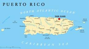Carte politique du Porto Rico Images libres de droits