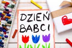 Carte polonaise de jour de grands-mères avec des mots : Jour de grands-mères Image stock