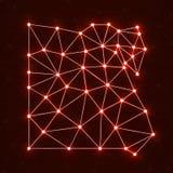 Carte polygonale abstraite Egypte avec les points et les lignes rougeoyants Image libre de droits