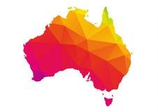 Carte polygonale colorée d'Australie, d'isolement sur le blanc Image libre de droits