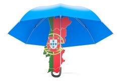 Carte portugaise sous le parapluie La sécurité et se protègent ou assurance Images libres de droits