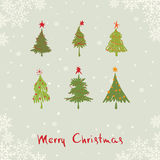 Carte postale -- arbres de Noël abstraits Photos stock