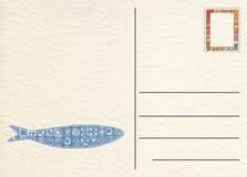 Carte postale arrière tirée par la main avec des poissons Photos libres de droits