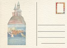Carte postale arrière tirée par la main avec le château Photographie stock libre de droits