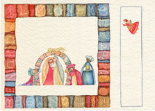 Carte postale arrière tirée par la main de Noël Images stock