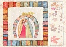 Carte postale arrière tirée par la main de Noël Photos libres de droits