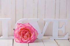 Carte postale avec amour élégant de fleur et de mot Images libres de droits