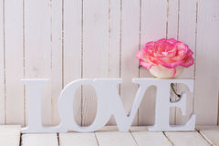 Carte postale avec amour élégant de fleur et de mot Image stock