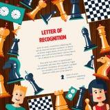 Carte postale avec des échecs de conception et des icônes plats de joueurs illustration stock
