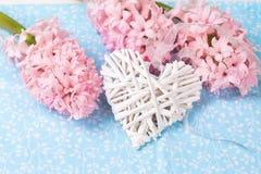 Carte postale avec des jacinthes de fleurs fraîches et coeur décoratif sur b Image stock