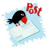 Carte postale avec l'image d'une corneille gaie Illustration de Vecteur