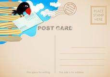 Carte postale avec l'image d'une corneille gaie illustration libre de droits