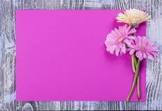 Carte postale avec la feuille et les fleurs de papier Photos libres de droits