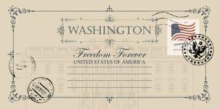 Carte postale avec la Maison Blanche des USA dans le Washington DC illustration de vecteur