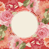 Carte postale avec le bouquet de luxe des pivoines Images stock