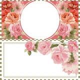 Carte postale avec le bouquet de luxe des pivoines Image libre de droits
