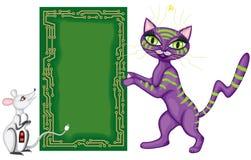 Carte postale avec le chat et la souris illustration libre de droits