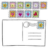 Carte postale avec le griffonnage de timbres-poste Photo stock