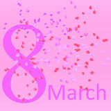 Carte postale avec le huitième mars pour les femmes aimées Image libre de droits