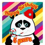 Carte postale avec le panda pendant 5 années Images libres de droits