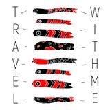 Carte postale avec le symbole de poissons en rouge et noir sur le fond blanc Image stock