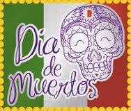 Carte postale avec le timbre de crâne favorisant le Mexicain et le x22 ; Dia de Muertos et x22 ; Célébration, illustration de vec Photographie stock libre de droits