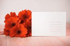 Carte postale avec les fleurs et le copyspace Photographie stock libre de droits