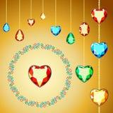 Carte postale avec les gemmes colorées Gemmes colorées de coupe différente illustration libre de droits