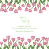 Carte postale avec les tulipes roses pour votre texte Fleurs de style de polygone Images stock