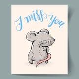 Carte postale avec une souris Photographie stock