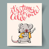 Carte postale avec une souris Image libre de droits
