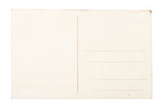 Carte postale blanc au-dessus du fond blanc. Photo libre de droits