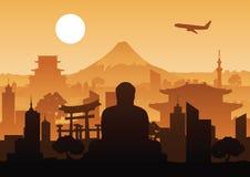 Carte postale célèbre ou web design d'affiche de conception de silhouette de point de repère du Japon illustration de vecteur