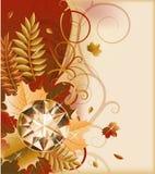Carte postale d'automne avec la pierre gemme précieuse Photographie stock libre de droits