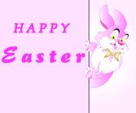 Carte postale d'Easte avec le lapin rose Image stock