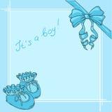 Carte postale d'enfants pour un garçon à la naissance dedans Photos stock