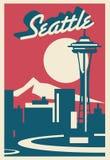 Carte postale d'horizon de Seattle illustration stock