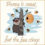 Carte postale d'ours et d'abeilles illustration stock