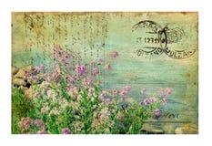 Carte postale de cru avec des fleurs Image libre de droits