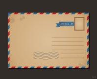 Carte postale de cru et timbres-poste Conception Photos libres de droits