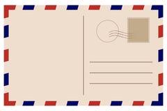 Carte postale de cru Vieux descripteur Rétro enveloppe de par avion avec le timbre illustration libre de droits