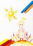 Carte postale de dessin de crayon de style de Kiddie avec des couleurs fraîches Photographie stock libre de droits
