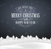 Carte postale de Gray Christmas avec le lettrage illustration stock