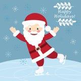 Carte postale de hristmas de ¡ de Ð avec le patinage drôle de Santa Claus illustration stock